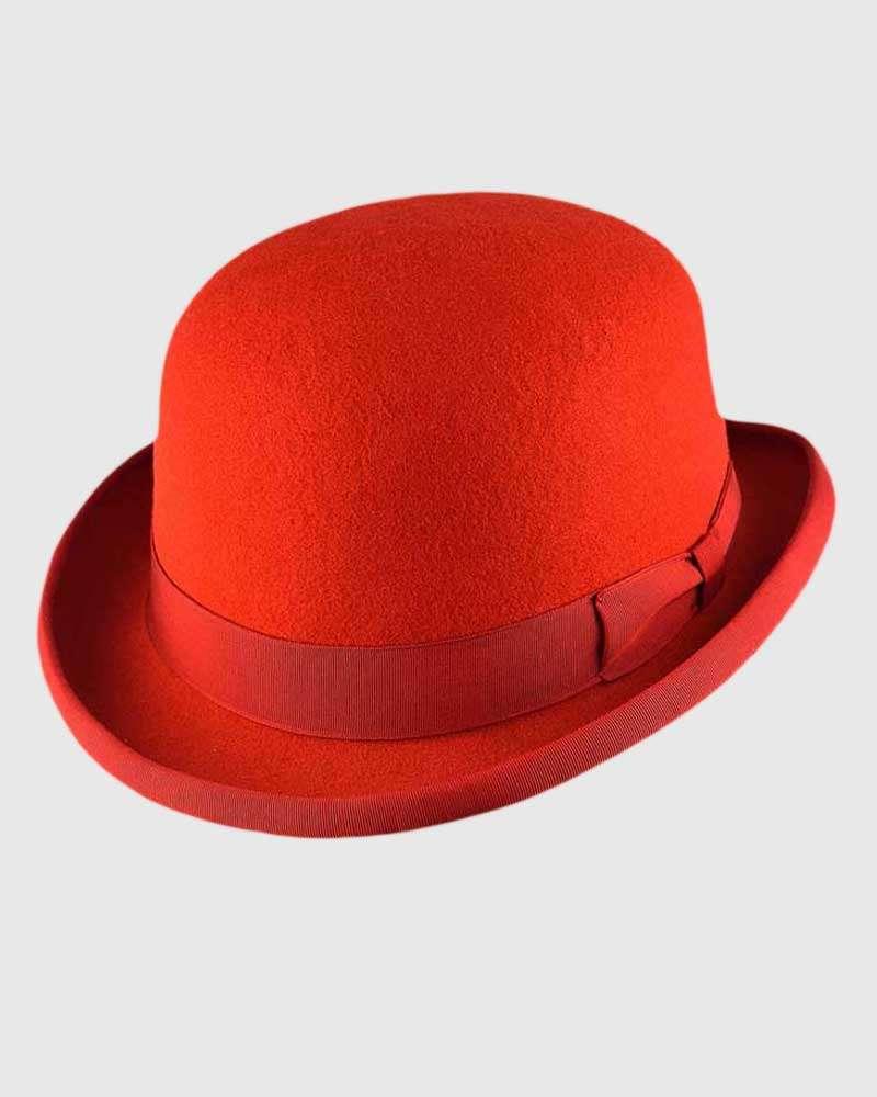 Red Bowler Hat Handmade -Wool Felt