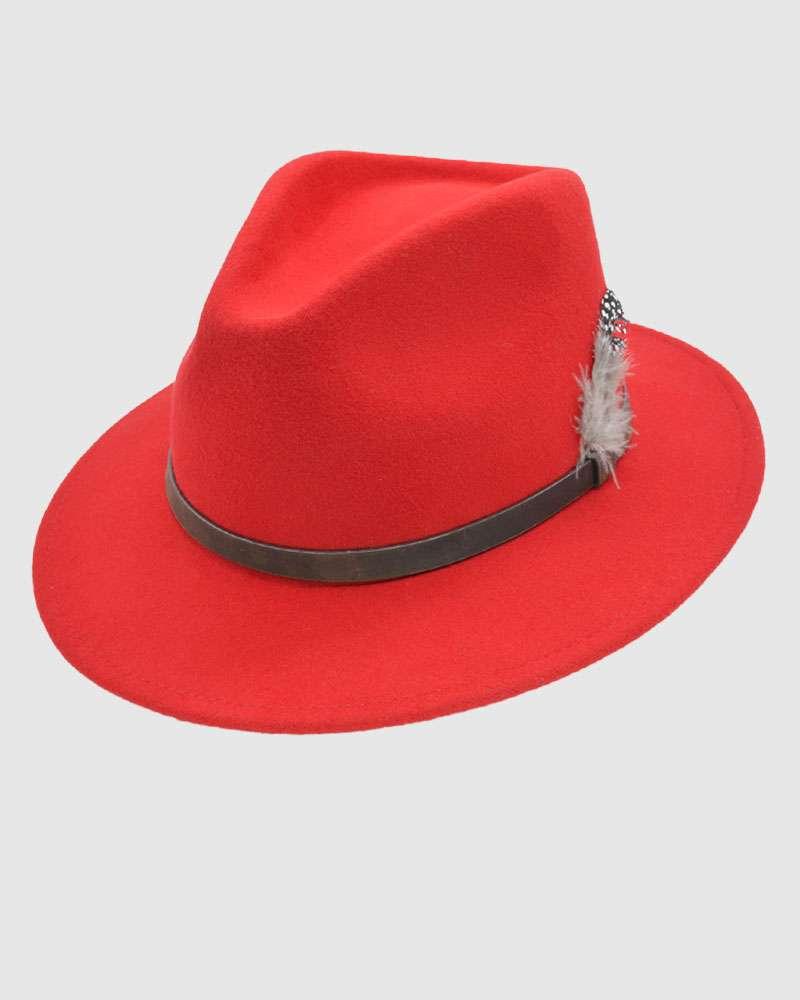 Handmade Red Fedora Hat - Wool Felt