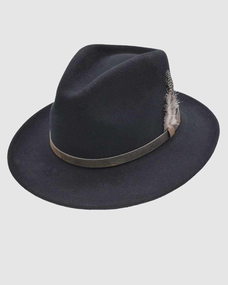 Handmade Black Fedora Hat - Wool Felt