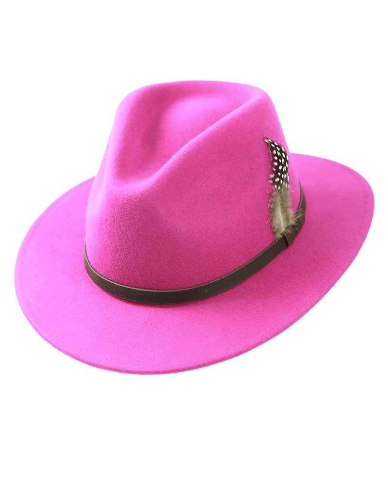 Fedora Hats Handmade Wool Felt - Pink