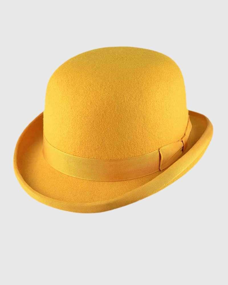 High Quality Hand Made Mustard 100/%Wool Top Hat Felt Wedding Ascot Hat