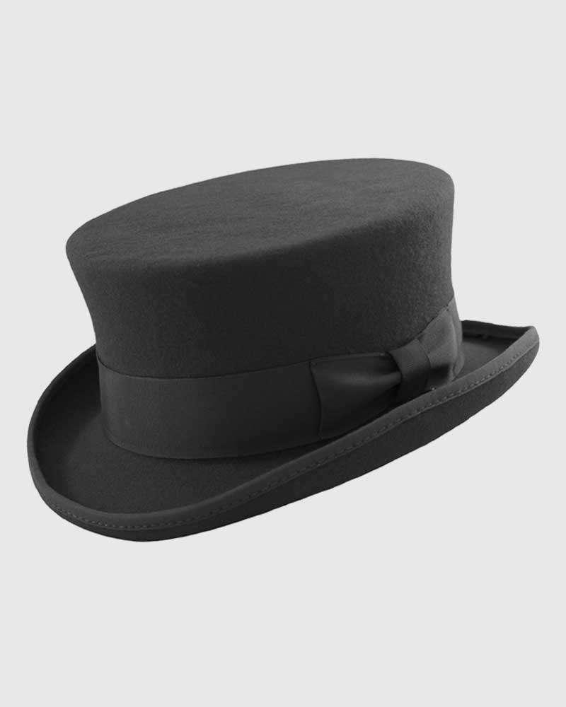 Black Junior Top Hat Handmade - Wool Felt