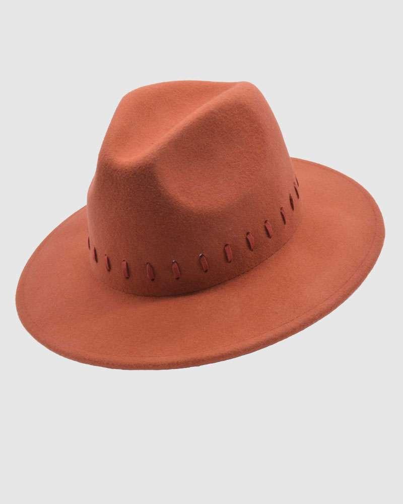 Womens Fedora Hat Wool Felt - Red