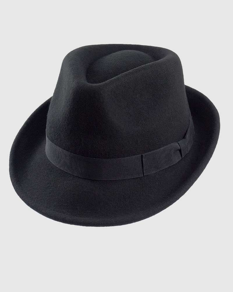 Trilby Fedora Hat Gangster – Black