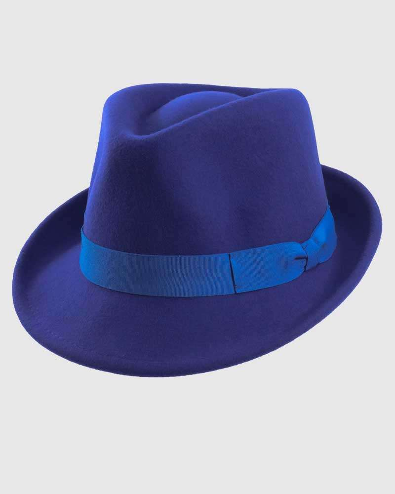 Trilby Fedora Hat Gangster – Royal Blue