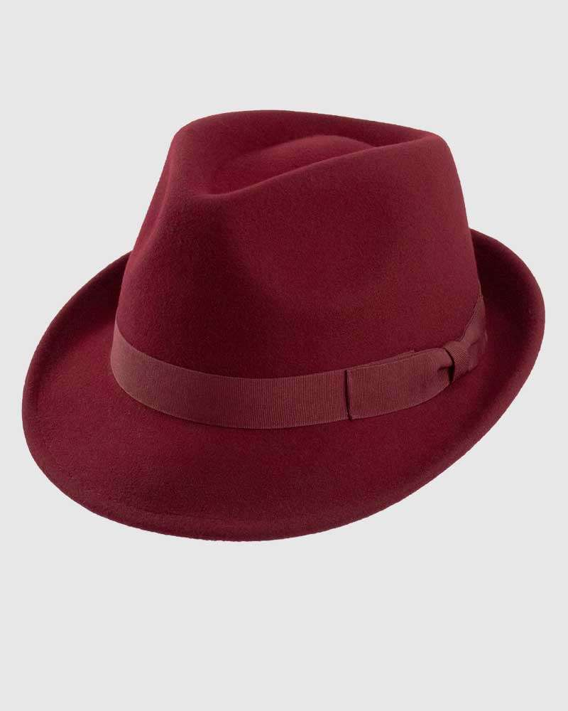 Trilby Fedora Hat Gangster – Burgundy