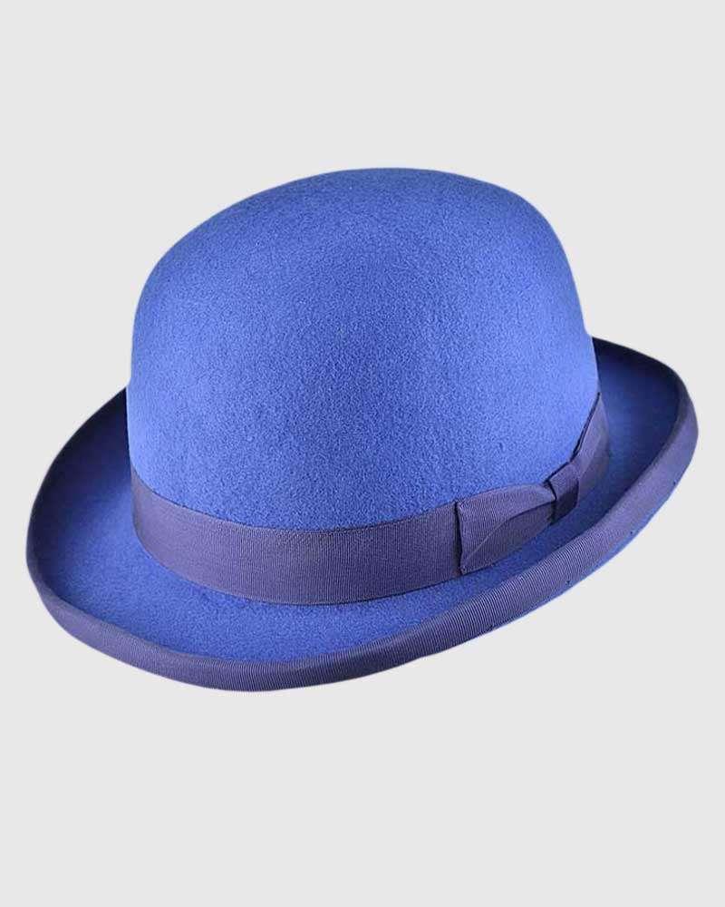 Royal Blue Bowler Hat Handmade -Wool Felt