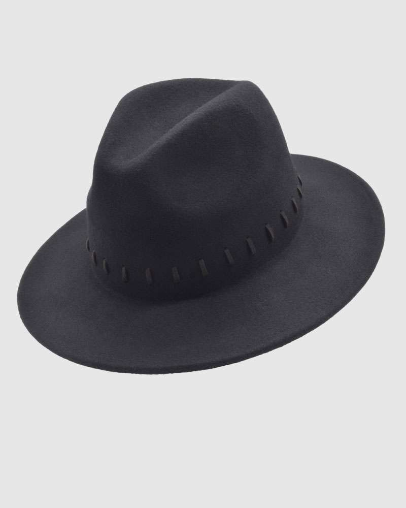 Womens Fedora Hat Wool Felt - Black