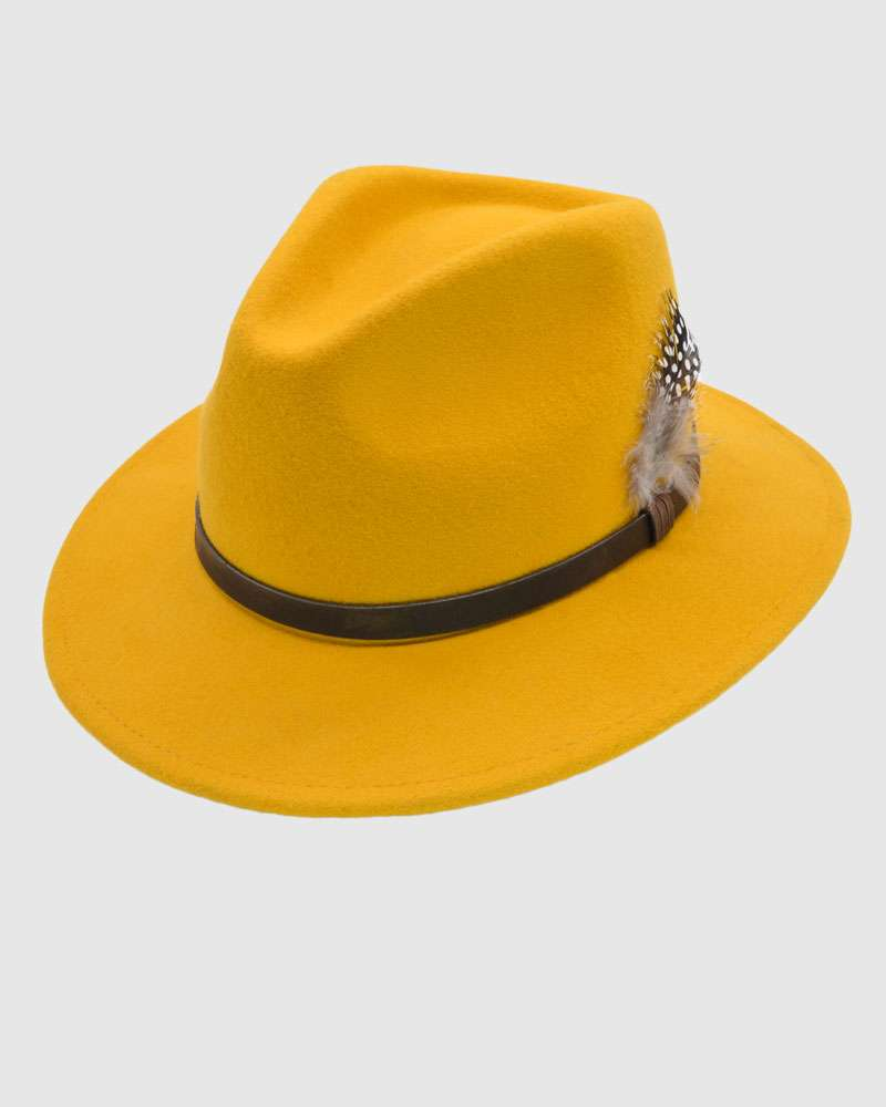 Handmade Mustard Fedora Hat - Wool Felt