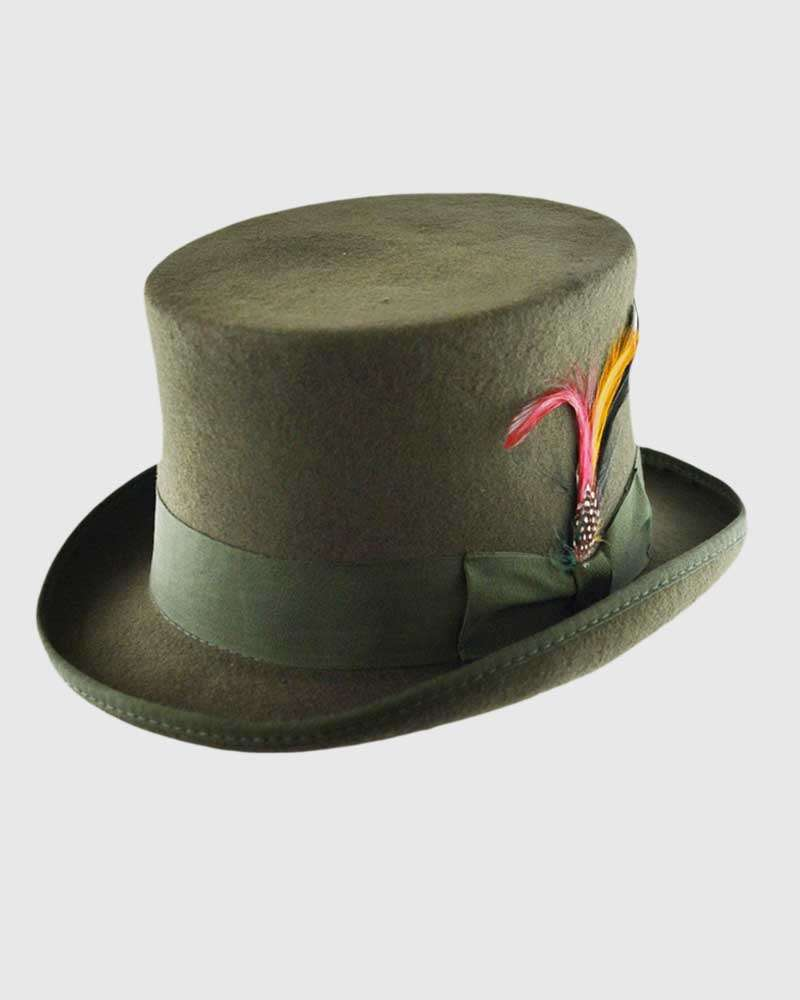 Olive Green Handmade Top Hat- Wool Felt