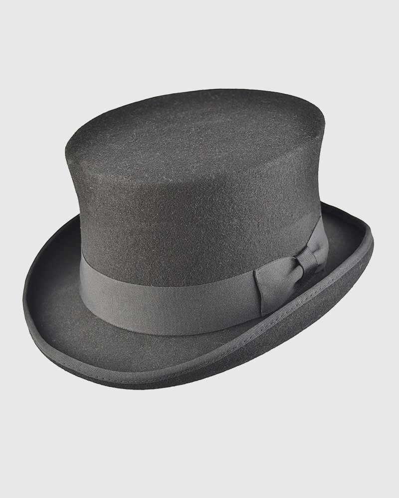 Black Handmade Top Hat- Wool Felt