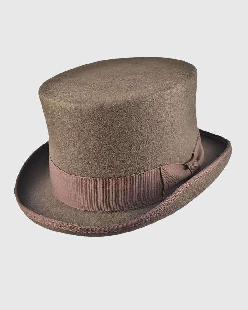 Brown Handmade Top Hat- Wool Felt