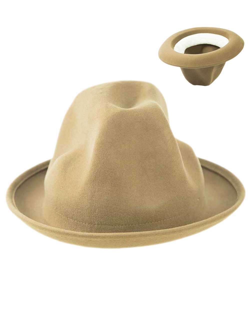 Oversized Mountain Hat odd shaped- Camel Brown
