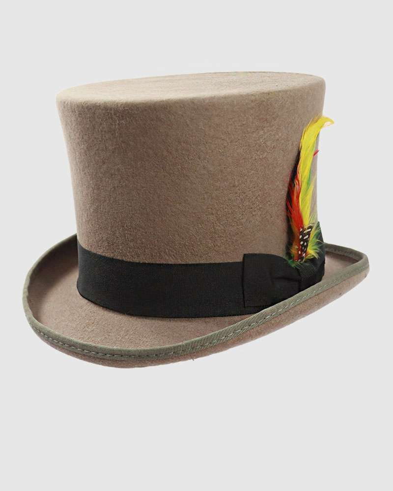 Victorian Top Hat Grey Wool Felt- Handmade