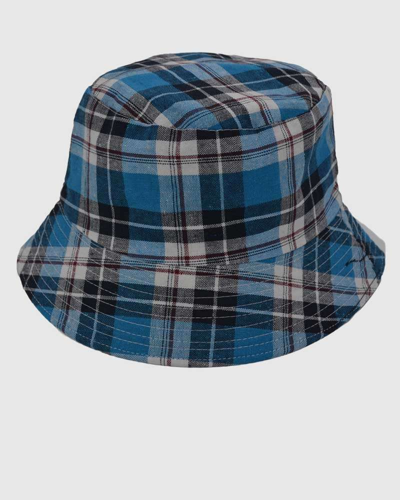 Checked Bucket Hat - Blue