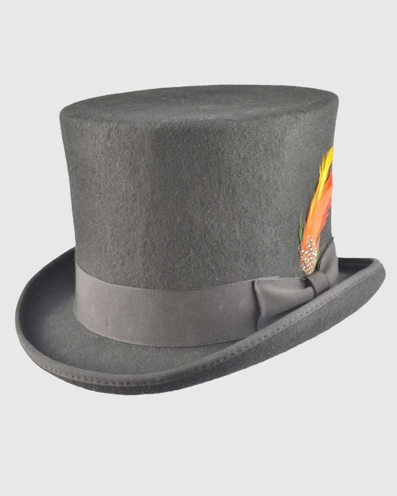 Victorian Top Hat Black Wool Felt- Handmade