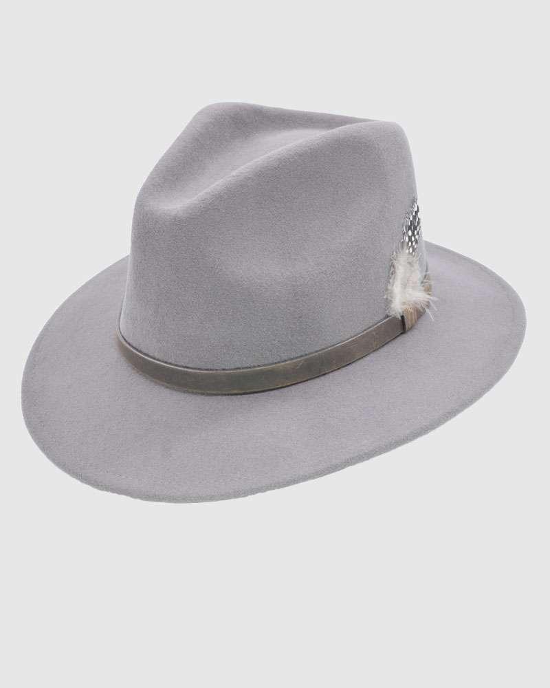 Grey Handmade Fedora Hat - Wool Felt
