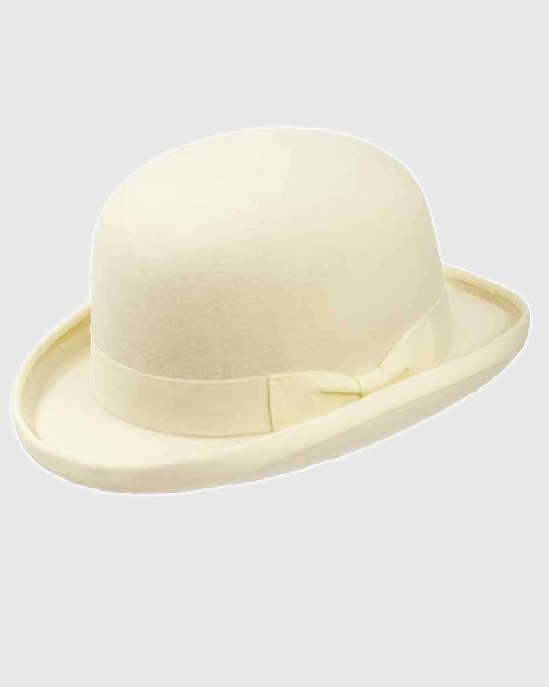 White Bowler Hat Handmade -Wool Felt