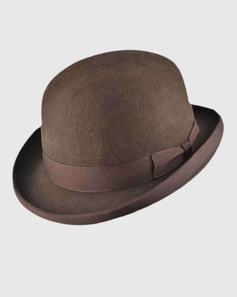 Brown Bowler Hat Handmade -Wool Felt