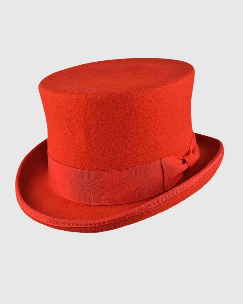 Red Handmade Top Hat- Wool Felt