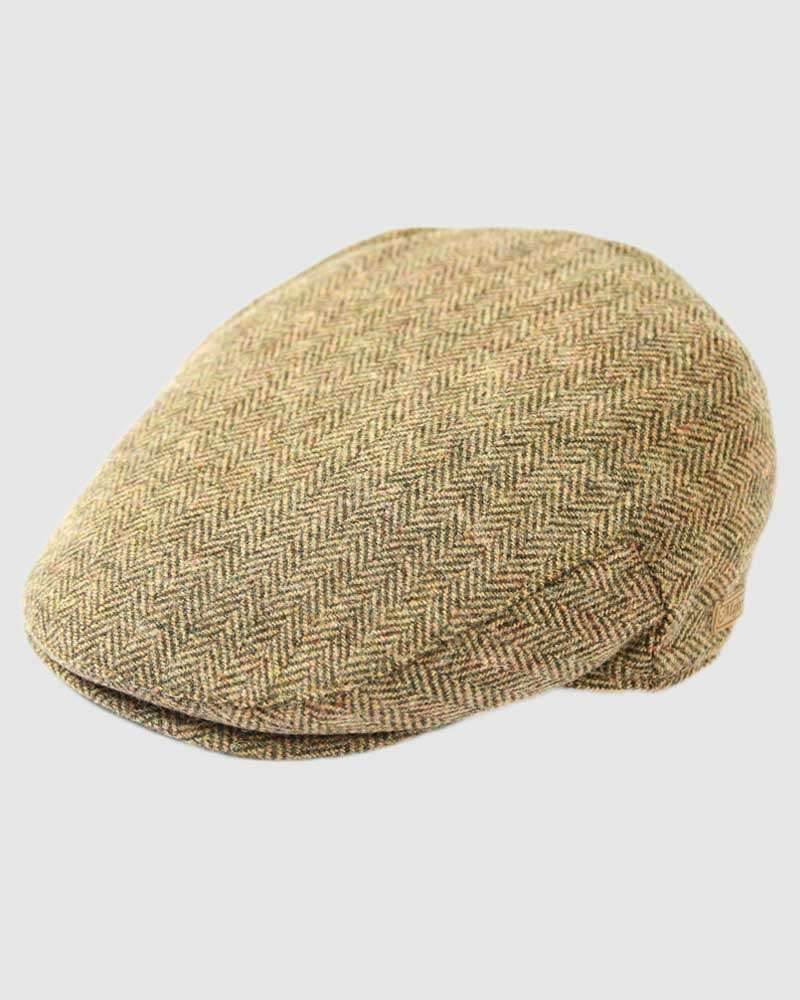 Herringbone Flat Cap Wool Tweed– Brown