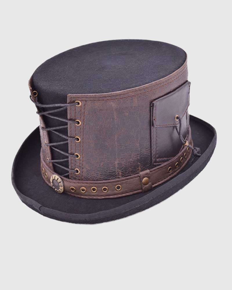 Steampunk Victorian Top Hat -with Leather Strapped