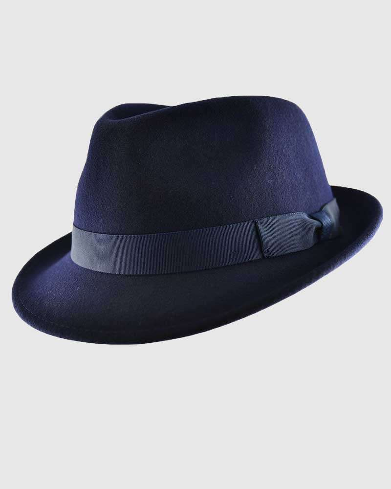 Trilby Fedora Hat Gangster – Navy Blue