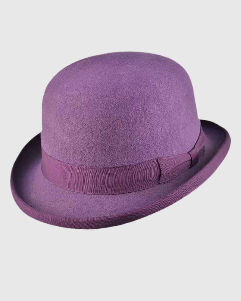 Purple Bowler Hat Handmade -Wool Felt