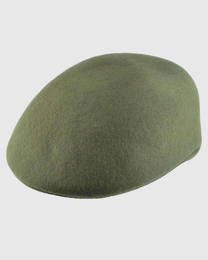 Flat Ascot Hat -Olive